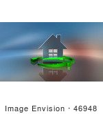 #46948 Royalty-Free (Rf) Illustration Of A 3d Chrome House Being Circled By Green Arrows - Version 1