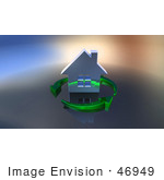 #46949 Royalty-Free (Rf) Illustration Of A 3d Chrome House Being Circled By Green Arrows - Version 4