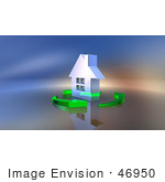 #46950 Royalty-Free (Rf) Illustration Of A 3d Chrome House Being Circled By Green Arrows - Version 2
