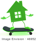 #46952 Royalty-Free (Rf) Illustration Of A 3d Green House Mascot Skateboarding - Version 1