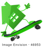 #46953 Royalty-Free (Rf) Illustration Of A 3d Green House Mascot Skateboarding - Version 3