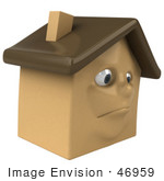 #46959 Royalty-Free (Rf) Illustration Of A 3d Brown Clay House Mascot Pouting
