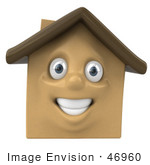 #46960 Royalty-Free (Rf) Illustration Of A 3d Brown Clay House Mascot Smiling - Version 1