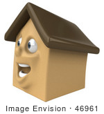 #46961 Royalty-Free (Rf) Illustration Of A 3d Brown Clay House Mascot Facing Left