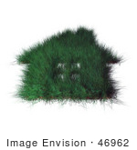 #46962 Royalty-Free (Rf) Illustration Of A 3d Grassy Green House With Windows - Version 1