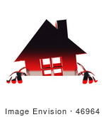 #46964 Royalty-Free (Rf) Illustration Of A 3d Red Chrome House Mascot Standing Behind A Blank Sign
