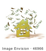 #46966 Royalty-Free (Rf) Illustration Of Money Falling Down Around A 3d Yellow House - Version 1