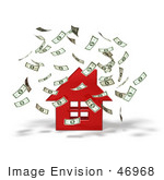 #46968 Royalty-Free (Rf) Illustration Of Money Falling Down Around A 3d Red House - Version 1