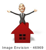 #46969 Royalty-Free (Rf) Illustration Of A 3d White Corporate Businessman Mascot Standing Behind A House