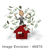 #46970 Royalty-Free (Rf) Illustration Of A 3d White Corporate Businessman Mascot Throwing Money And Standing Behind A House