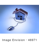 #46971 Royalty-Free (Rf) Illustration Of A 3d Home Icon With A Computer Mouse - Version 2