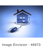 #46973 Royalty-Free (Rf) Illustration Of A 3d Home Icon With A Computer Mouse - Version 1