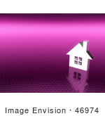 #46974 Royalty-Free (Rf) Illustration Of A 3d White House On A Textured Pink Background
