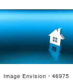 #46975 Royalty-Free (Rf) Illustration Of A 3d White House On A Textured Blue Background - Version 2