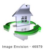 #46979 Royalty-Free (Rf) Illustration Of A 3d Chrome House Being Circled By Green Arrows - Version 9