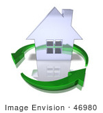 #46980 Royalty-Free (Rf) Illustration Of A 3d Chrome House Being Circled By Green Arrows - Version 11