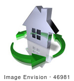 #46981 Royalty-Free (Rf) Illustration Of A 3d Chrome House Being Circled By Green Arrows - Version 10