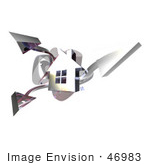 #46983 Royalty-Free (Rf) Illustration Of A 3d Chrome House With Three Shooting Arrows - Version 1