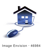 #46984 Royalty-Free (Rf) Illustration Of A 3d House Icon With A Computer Mouse - Version 4
