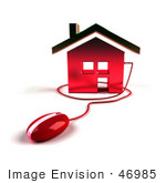 #46985 Royalty-Free (Rf) Illustration Of A 3d House Icon With A Computer Mouse - Version 5