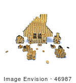 #46987 Royalty-Free (Rf) Illustration Of A 3d House Made Of Golden Coin Stacks - Version 7