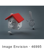#46995 Royalty-Free (Rf) Illustration Of A 3d Key Mascot Chasing A House - Version 1