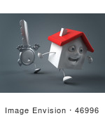 #46996 Royalty-Free (Rf) Illustration Of A 3d Key Mascot Chasing A House - Version 2