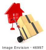 #46997 Royalty-Free (Rf) Illustration Of A 3d Red House Mascot Pushing Boxes On A Dolly