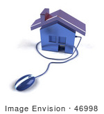 #46998 Royalty-Free (Rf) Illustration Of A 3d House Icon With A Computer Mouse - Version 6