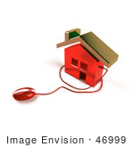 #46999 Royalty-Free (Rf) Illustration Of A 3d House Icon With A Computer Mouse - Version 7