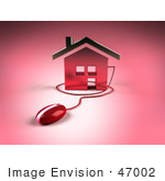 #47002 Royalty-Free (Rf) Illustration Of A 3d House Icon With A Computer Mouse - Version 8