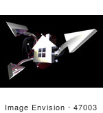 #47003 Royalty-Free (Rf) Illustration Of A 3d Chrome House With Three Shooting Arrows - Version 2