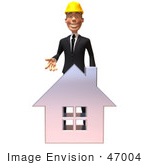 #47004 Royalty-Free (Rf) Illustration Of A 3d Contractor Mascot Standing Behind A Chrome House