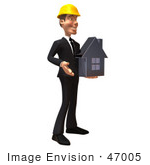 #47005 Royalty-Free (Rf) Illustration Of A 3d Contractor Mascot Holding A Chrome House - Vesrion 2