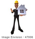 #47006 Royalty-Free (Rf) Illustration Of A 3d Contractor Mascot Holding A Chrome House - Vesrion 3