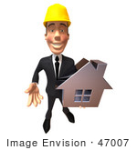 #47007 Royalty-Free (Rf) Illustration Of A 3d Contractor Mascot Holding A Chrome House - Vesrion 4