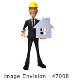 #47008 Royalty-Free (Rf) Illustration Of A 3d Contractor Mascot Holding A Chrome House - Vesrion 5