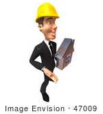 #47009 Royalty-Free (Rf) Illustration Of A 3d Contractor Mascot Holding A Chrome House - Vesrion 1