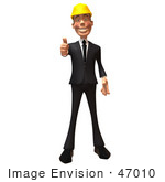 #47010 Royalty-Free (Rf) Illustration Of A 3d Contractor Mascot Giving The Thumbs Up - Version 1
