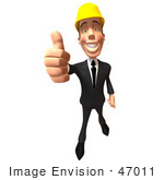 #47011 Royalty-Free (Rf) Illustration Of A 3d Contractor Mascot Giving The Thumbs Up - Version 3