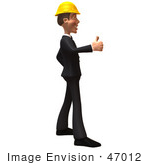 #47012 Royalty-Free (Rf) Illustration Of A 3d Contractor Mascot Giving The Thumbs Up - Version 2