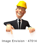 #47014 Royalty-Free (Rf) Illustration Of A 3d Contractor Mascot Pointing Down And Standing Behind A Blank Sign