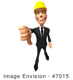 #47015 Royalty-Free (Rf) Illustration Of A 3d Contractor Mascot Giving The Thumbs Down - Version 2