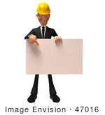 #47016 Royalty-Free (Rf) Illustration Of A 3d Contractor Mascot Holding A Blank Sign - Version 2