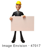 #47017 Royalty-Free (Rf) Illustration Of A 3d Contractor Mascot Holding A Blank Sign - Version 1