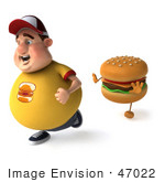 #47022 Royalty-Free (Rf) Illustration Of A 3d Fat Burger Boy Mascot Running From A Cheeseburger - Version 2