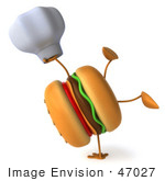 #47027 Royalty-Free (Rf) Illustration Of A 3d Cheeseburger Mascot Doing A Hand Stand And Holding A Chef Hat