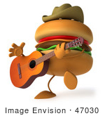 #47030 Royalty-Free (Rf) Illustration Of A 3d Cowboy Cheeseburger Mascot Playing A Guitar