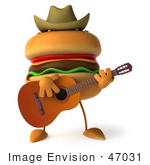 #47031 Royalty-Free (Rf) Illustration Of A 3d Cheeseburger Mascot Playing A Guitar And Wearing A Cowboy Hat