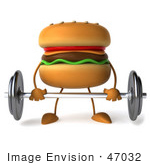 #47032 Royalty-Free (Rf) Illustration Of A 3d Cheeseburger Mascot Lifting A Barbell